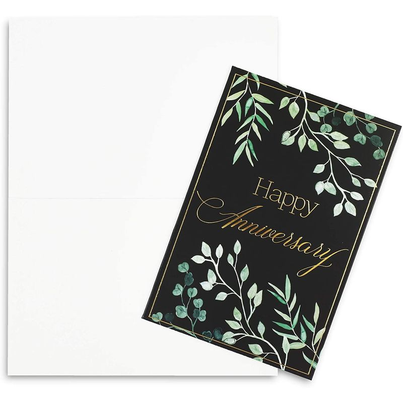 Happy Anniversary Cards with 6 Gold Foil Designs and Envelopes (4 x 6 in, 48 Pk)