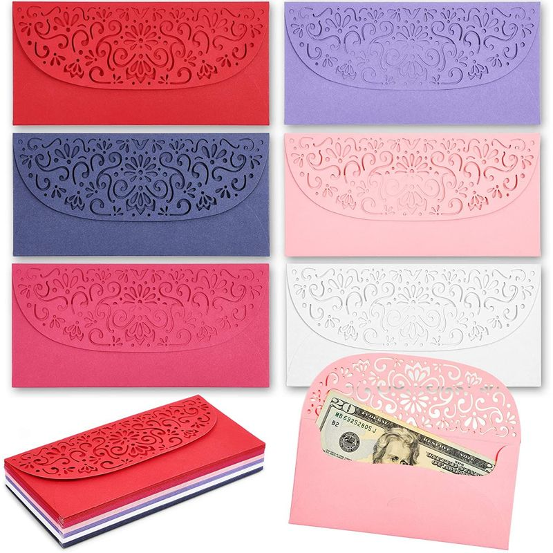 36-Pack Laser Cut Money Envelopes for Cash in 6 Colors for Weddings & Birthday