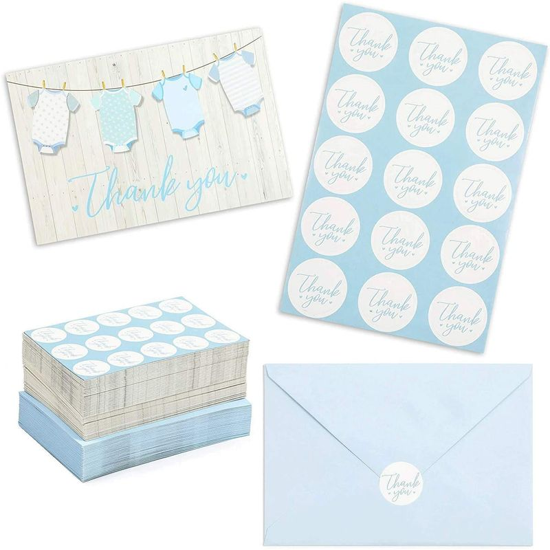 Baby Shower Thank You Cards for Boy (60 Pack)