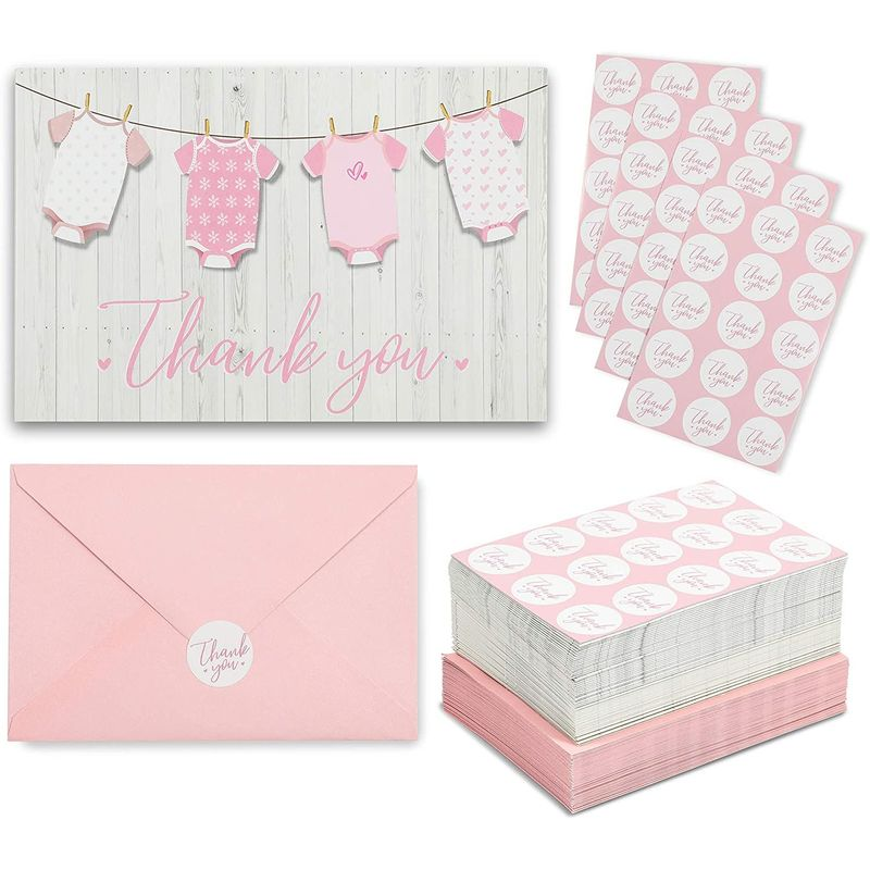 Baby Shower Thank You Cards for Girl (60 Pack)