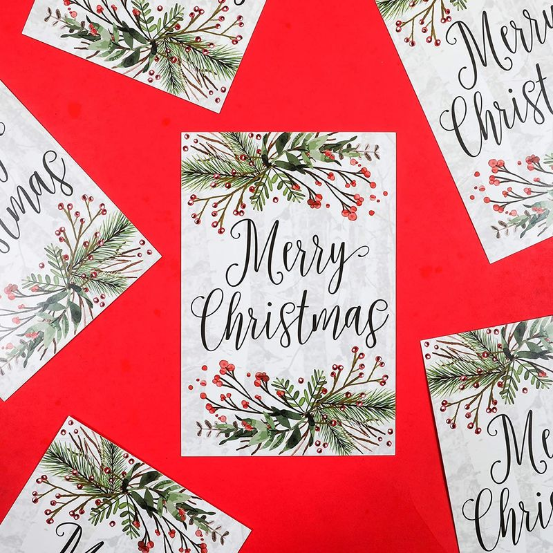 Merry Christmas Postcards, Blank Notecards (4 x 6 Inches, 96 Pack)