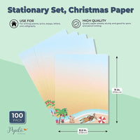 Stationary Set, Christmas Paper (8.5 x 11 In, 100 Sheets)