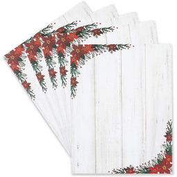 Poinsettia Stationery Set, Christmas Printer Paper (8.5 x 11 In, 100 Sheets)