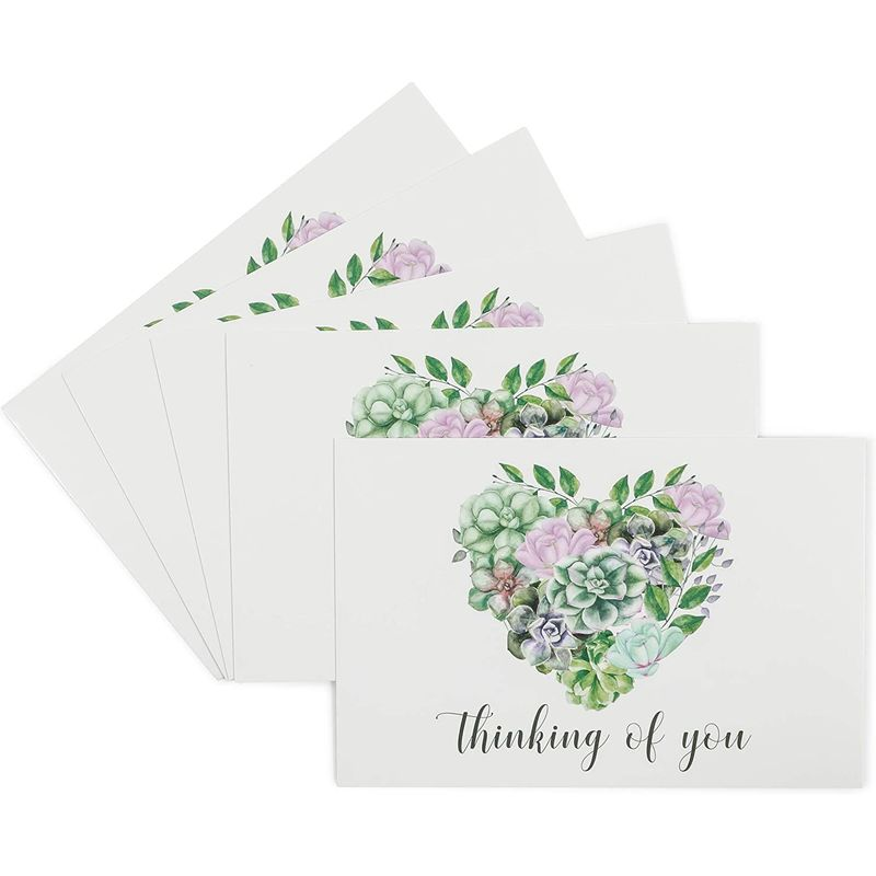 Blank Postcards, Thinking Of You, Heart and Succulents (6 x 4 In, 48 Pack)