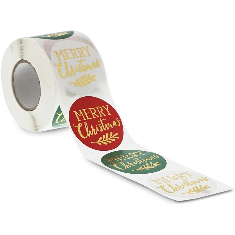 Merry Christmas Stickers Roll with Gold Foil (2 Inches, 500 Pieces)