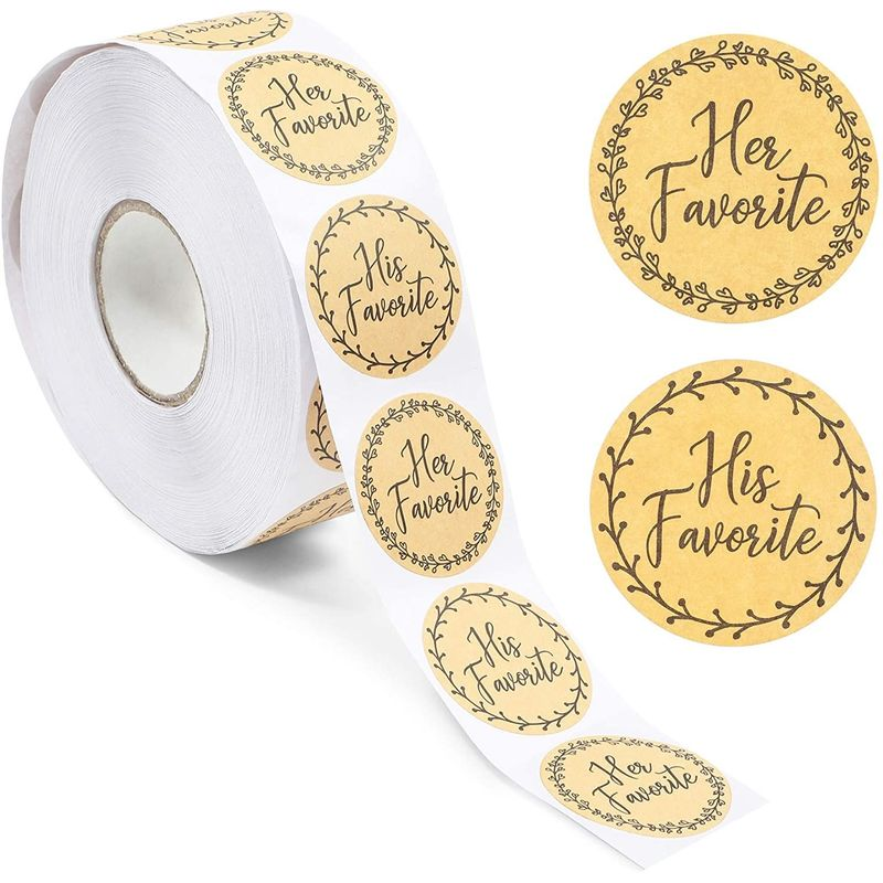 His Favorite Her Favorite Rustic Stickers for Weddings (1.5 in, 1000 Pieces)