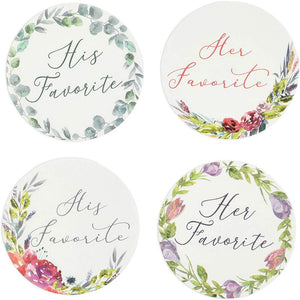 His Favorite Her Favorite Floral Stickers for Weddings (1.5 in, 1000 Pieces)