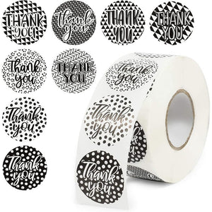 Geometric Thank You Stickers Roll (Black, White, 1.5 in, 1000 Pack)