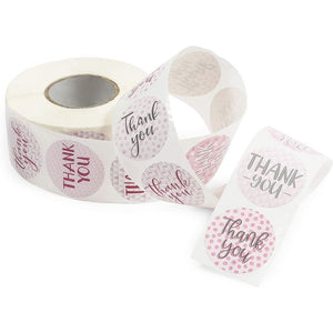 Thank You Stickers Roll, Geometric Stickers (Pink, 1.5 in, 1