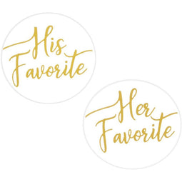 Gold Foil Stickers for Weddings, His Favorite, Her Favorite (1 in, 200 Pieces)
