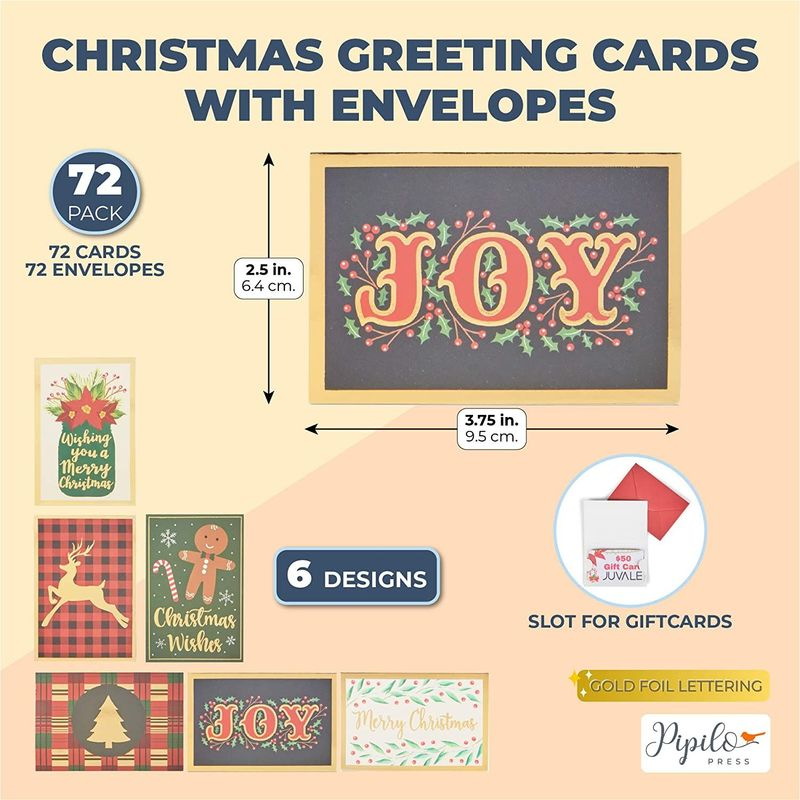 Gift Card Envelopes for Christmas Stocking Stuffer (2.5 x 3.75 In, 72 Pack)