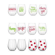 Load image into Gallery viewer, Holiday Acrylic Wine Glass Set of 2