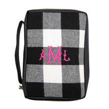 Load image into Gallery viewer, Monogrammed view of our Buffalo Check Bible Carrier