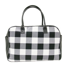 Load image into Gallery viewer, Front view of our Buffalo Check Duffle Bag