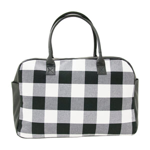 Front view of our Buffalo Check Duffle Bag