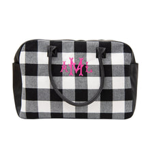 Load image into Gallery viewer, Monogrammed view of our Buffalo Check Duffle Bag