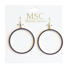 Load image into Gallery viewer, Front view of our Navy Bead Circle Earrings