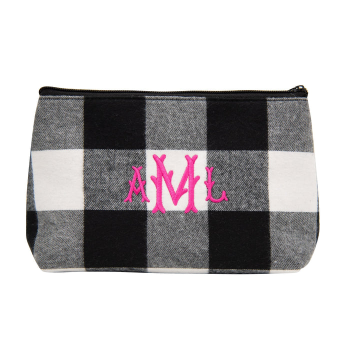 Monogrammed view of our Buffalo Check Cosmetic Bag