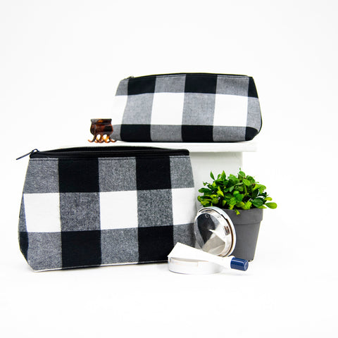 Lifestyle view of our Buffalo Check Cosmetic Bag