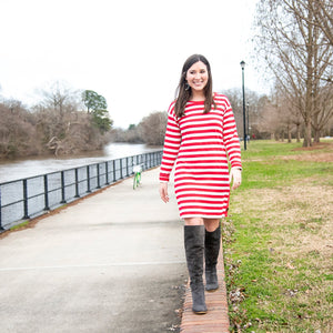 Lifestyle view of our Crimson Stripe Button Dress