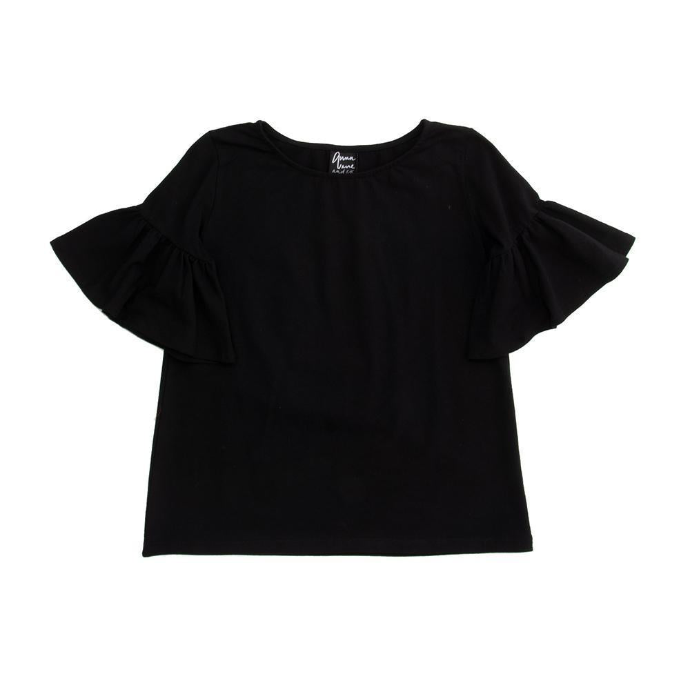 Front view of our Black Bell Sleeve Shirt