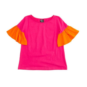 Front view of our Pink Bell Sleeve Shirt