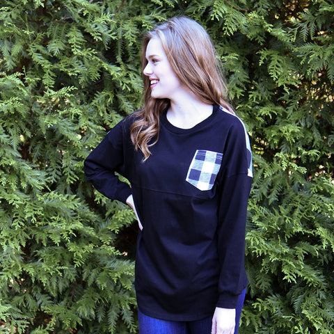 Lifestyle view of our Buffalo Check GoWhimsey Shirt