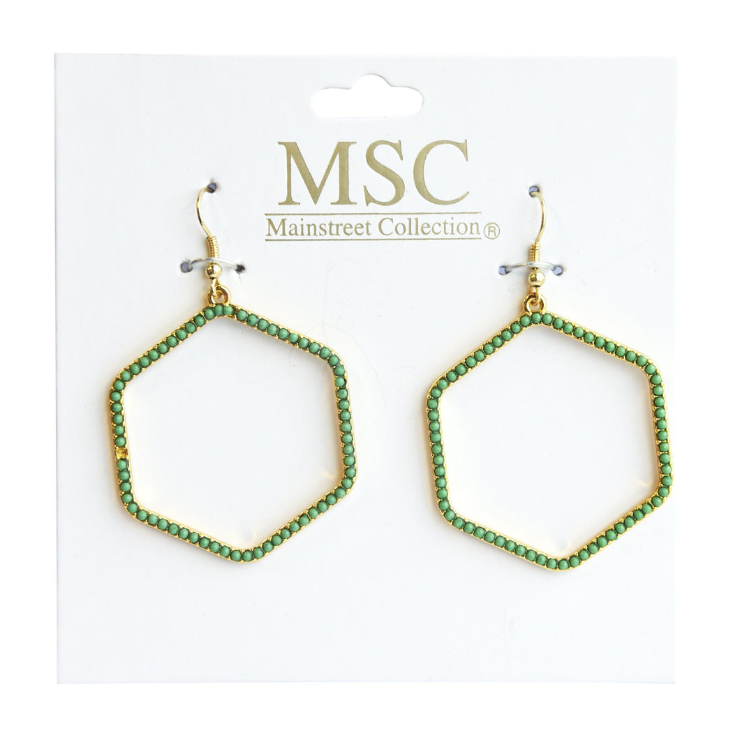Front view of our Green Bead Hexagon Earring