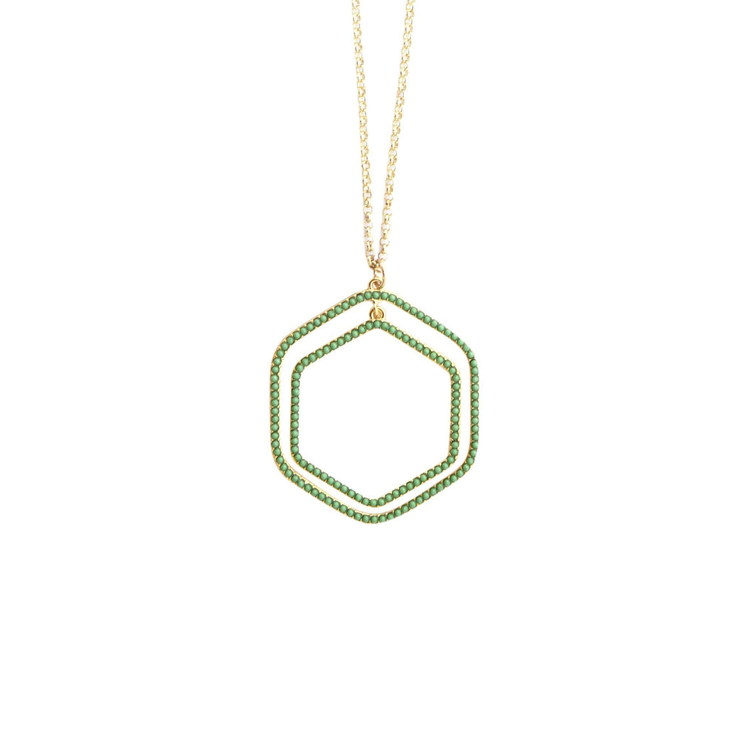 Front view of our Green Bead Hexagon Necklace