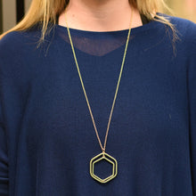 Lifestyle view of our Green Bead Hexagon Necklace