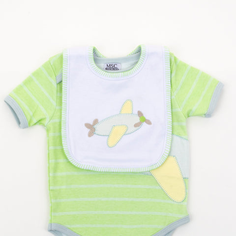 Lifestyle image of our Airplane Stitch Bib