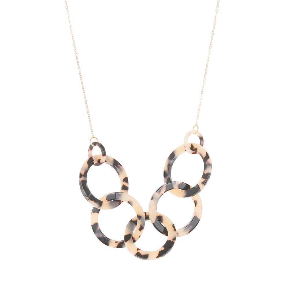 Front view of our Circle Blonde Tortoise Link Chain Necklaces