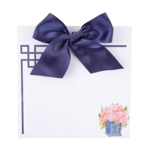 Top view of our Navy Rose Southern Blooms Bow Notepad