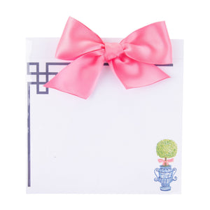 Top view of our Pink Topiary Southern Blooms Bow Notepad