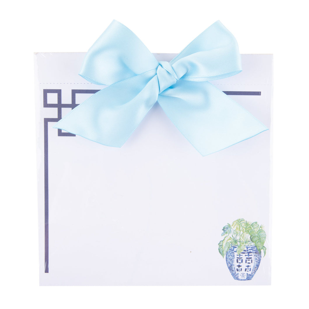 Top view of our Turquoise Leaf Southern Blooms Bow Notepad