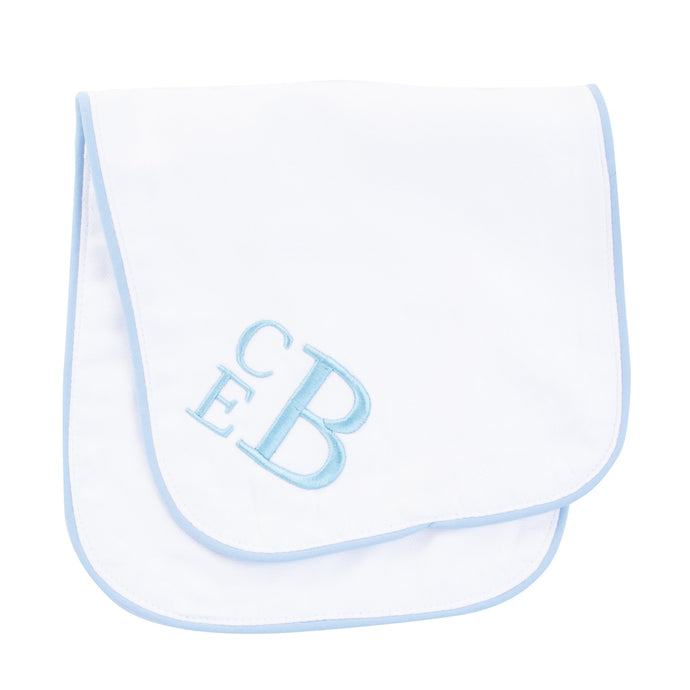 Monogrammed Blue Piping Burp Cloth