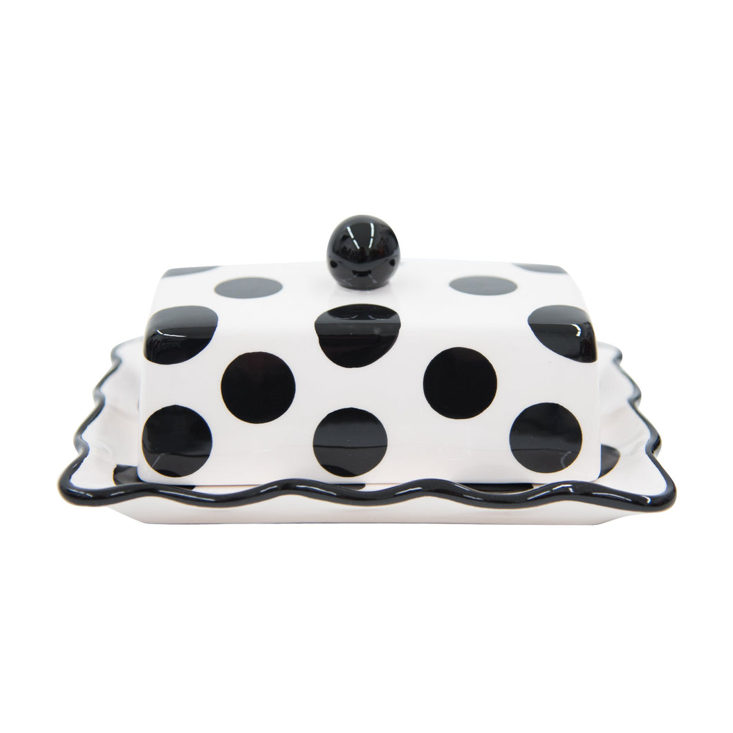 Side view of our Black Dot Butter Dish