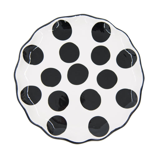 Top view of our Black Dot Round Platter