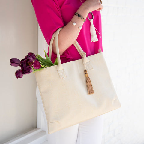 Lifestyle view of our Bamboo Raleigh Handbag
