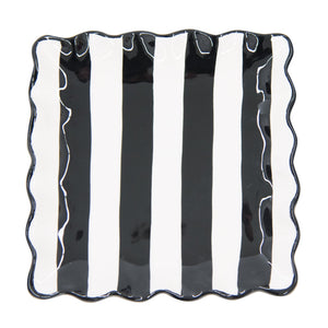Top view of our Black Stripe Dessert Plate
