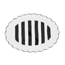 Load image into Gallery viewer, Top view of our Black Stripe Oval Platter