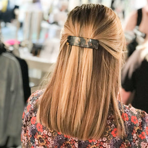 Lifestyle view of our Chunky Blonde Tortoise Hair Barrette