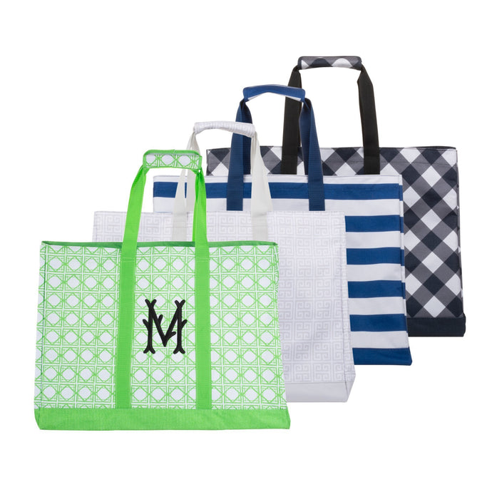 Monogrammed view of our Green Bamboo Big Tote