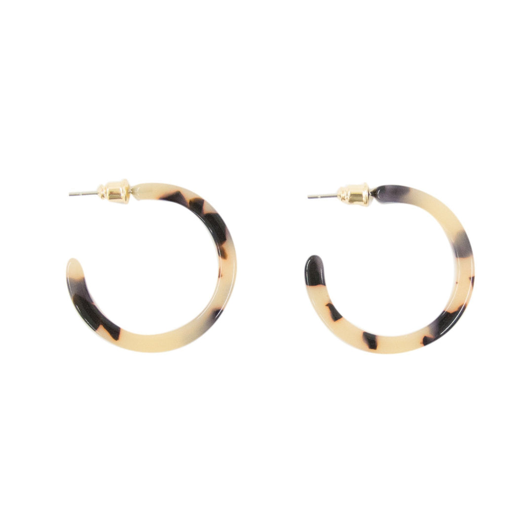 Front view of our Small Blonde Tortoise Hoops
