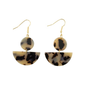 Front view of our Half Moon Blonde Tortoise Earrings