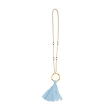 Load image into Gallery viewer, Front view of our Bamboo Light Blue Tassel Necklace