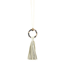 Load image into Gallery viewer, Front view of our Gray Blonde Tortoise Tassel Necklace