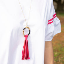 Load image into Gallery viewer, Lifestyle view of our Pink Blonde Tortoise Tassel Necklace
