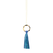 Load image into Gallery viewer, Front view of our Navy Blonde Tortoise Tassel Necklace