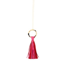 Load image into Gallery viewer, Front view of our Pink Blonde Tortoise Tassel Necklace